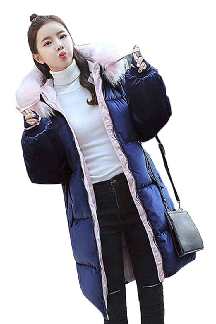 1 omniscient Women Hooded Thick Down Jacket Warm Casual Faux Fur Puffer Coats