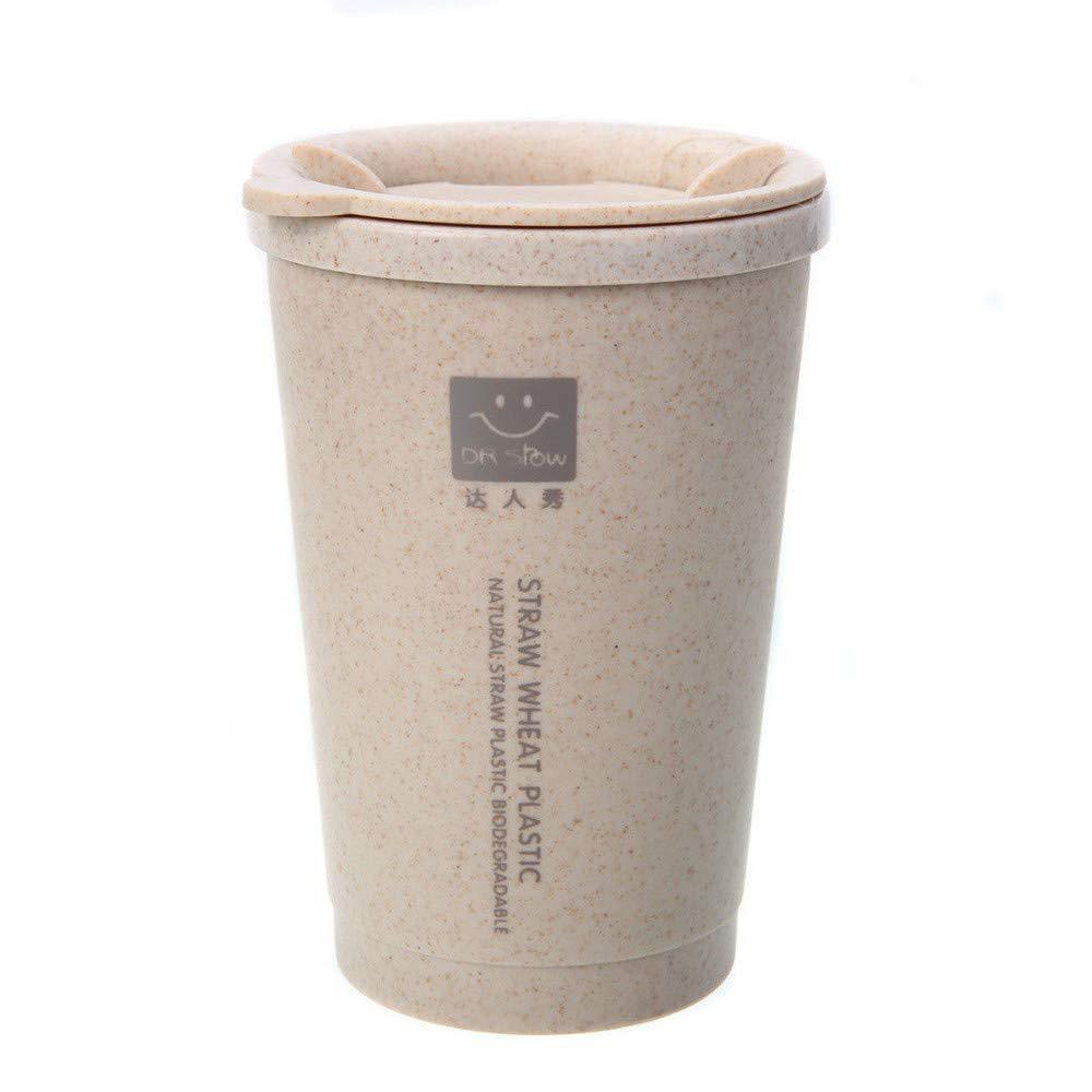 HUYURI–Coffee Cup, a tenuta stagna per esterni, 280ml di grano paglia portatile doppia parete ufficio portatile tazze di caffè tè tazza regali, senza BPA, Blue, 280ML HUYURI-Coffee Cup