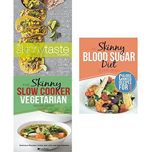 Book cover from Skinnytaste cookbook, slow cooker vegetarian recipe book and skinny blood sugar diet recipe book 3 books collection set by Gina Homolka