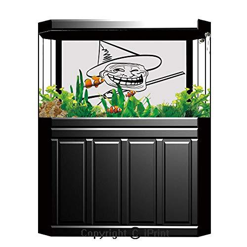 Aquarium Decoration Background,Humor Decor,Halloween Spirit Themed Witch Guy Meme Lol Joy Spooky Avatar Artful Image,Black White,Photography Backdrop for Photo Props -