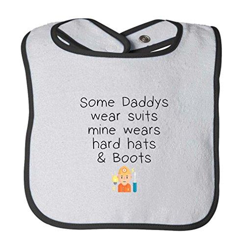 Some Wear Suits Mine Hard Hats Boots Infant Contrast Trim Terry Bib White/Black]()