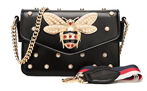 OYIGE bags Black Women's with package Bee Handbags amp; Small bag Crossbody Shoulder Pearl square rxrwq40CZ