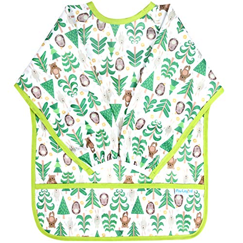 Paw Legend Long Sleeved Baby Bib - Waterproof Bib for Babies - Toddler bib (6-24 Months) with Pocket, Hedgehog