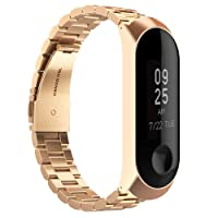 GeeRic XiaoMi Mi Band 3 Correa, XiaoMi Mi Band 3 Watch Band de Acero Inoxidable Banda Reemplazo Tres Hebilla de Cuentas Diseño Correa para XiaoMi Mi Band 3 - Oro Rosa