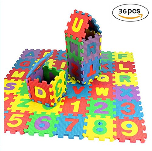 Alphabet Puzzle Foam Mat, OULucicy NON-TOXIC Extra-Thick 36 Piece Children Play & Exercise Mat, Comfortable Floor Cushiony, 6 Vibrant Colors for Kids & Toddlers