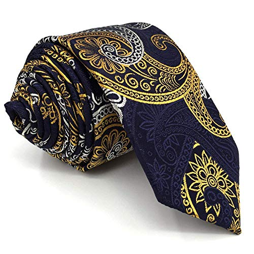 Shlax&Wing Mens Ties Blue Yellow Paisley Neckties Business Suit Extra Long 63