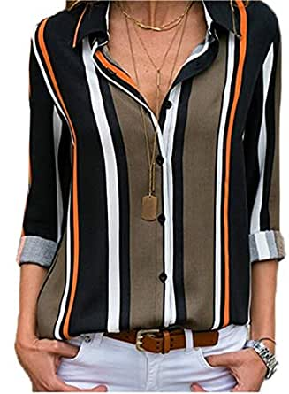 Tops for Women Chiffon Blouses Ladies Button Down Striped Womens Blouses and Tops for Work Casual Long Sleeves Shirts Black XL