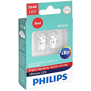 Philips 194RLED Ultinon LED Bulb (Red), 2 Pack