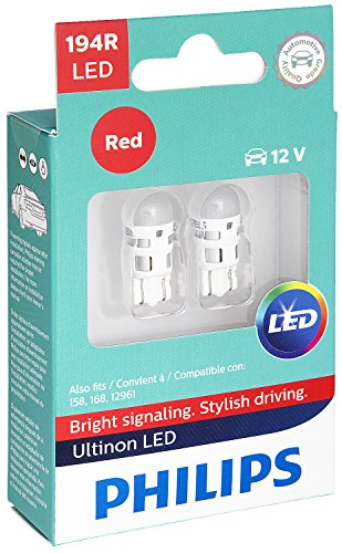 (Philips 194 Ultinon LED Bulb (Red), 2 Pack)