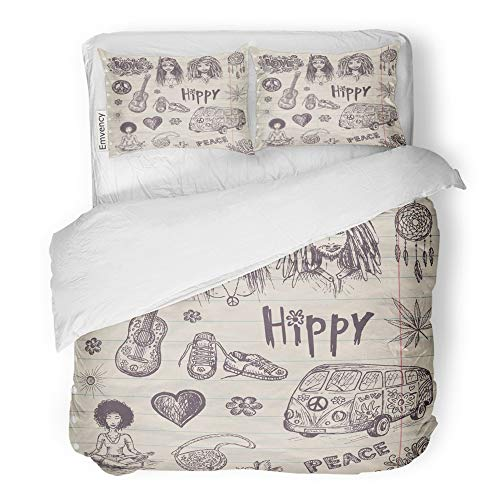 Emvency 3 Piece Duvet Cover Set Brushed Microfiber Fabric Breathable Flower Hippie Girl and Guy Bus Guitar Love Sign Marijuana Bedding Set with 2 Pillow Covers Full/Queen Size ()