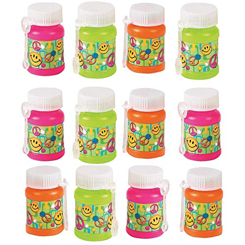 Mini Plastic '60s Bubble Bottles 2 Inches - 12 Pack – Assorted Colors Bottles 1 Oz. with Foldable Wands – Smiley and Peace Symbols - for Kids Great Party Favors, Fun, Toy, Gift, Prize - by Kidsco