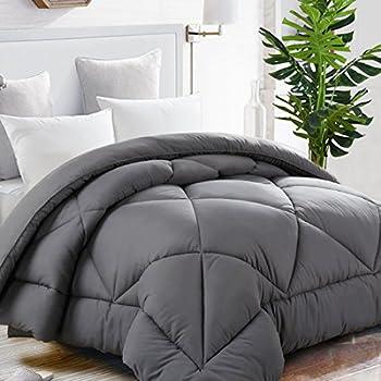 Beckham Hotel Collection Goose Down Alternative Reversible Comforter - All Season - Premium Quality Luxury Hypoallergenic Comforter - Full/Queen - Grey/Black