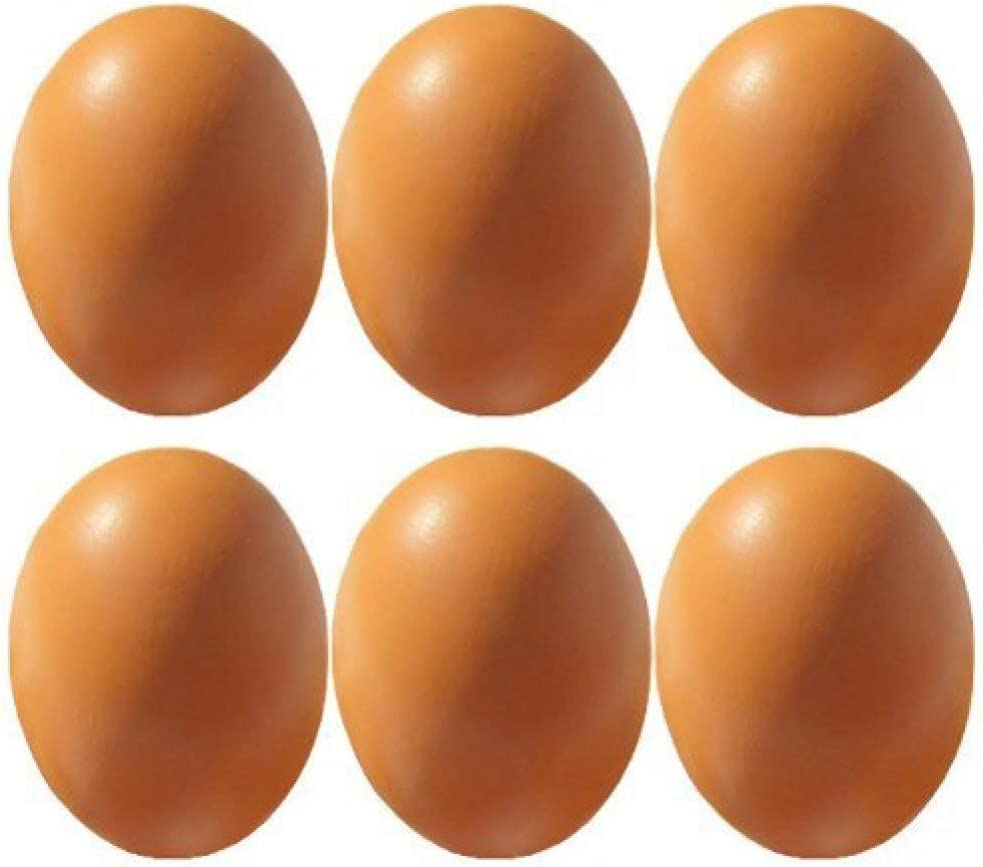 6Pcs Wooden Faux Fake Eggs, Children Play Kitchen Game Food Toy - Log Color