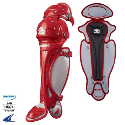 Scarlet Pro Leg Guards - Champro Senior Pro Plus League Leg Guard (Scarlet, 14.5-Inch)