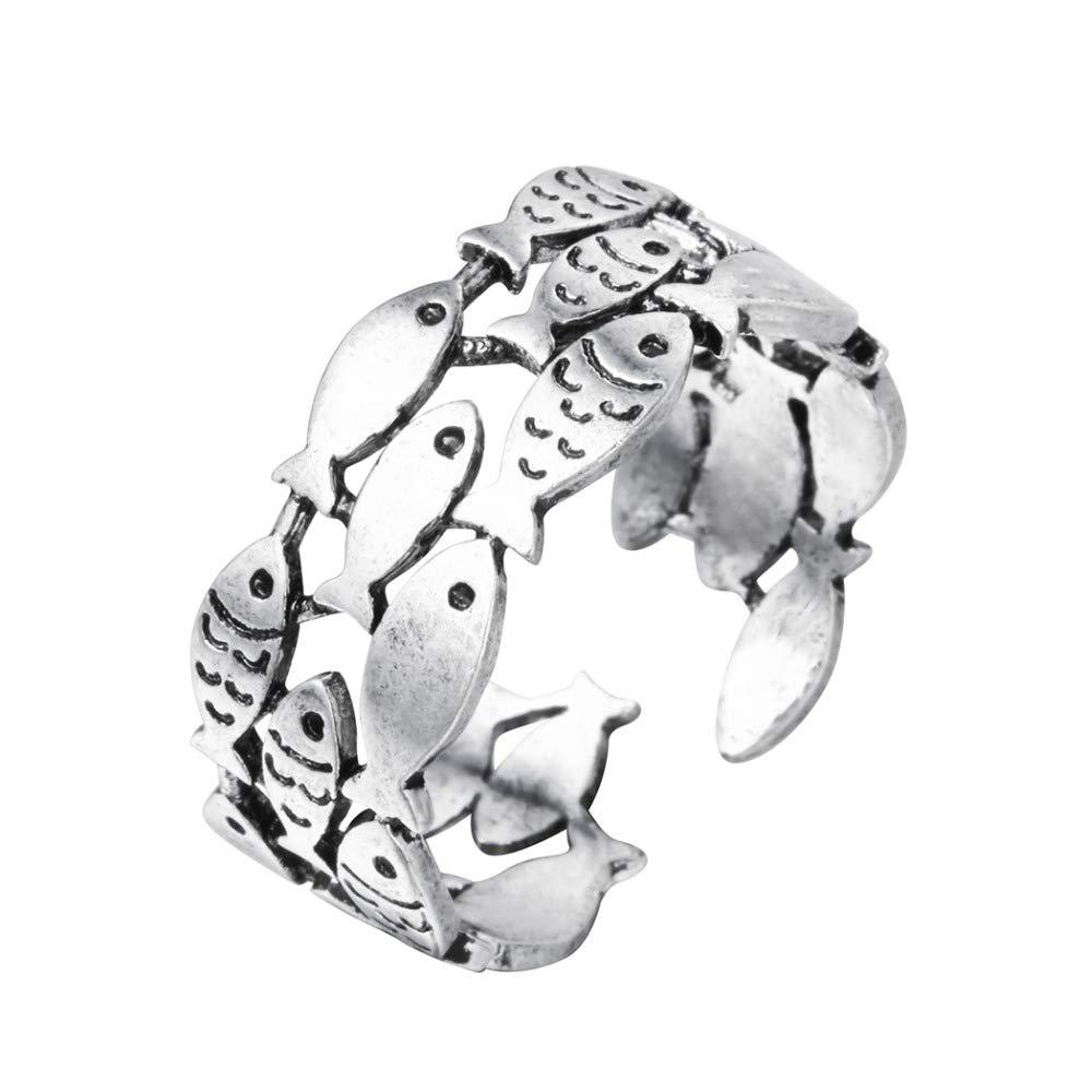 Qiandi - Bague de mariage tendance réglable en argent sterling 925 pour femme - Design : Poissons
