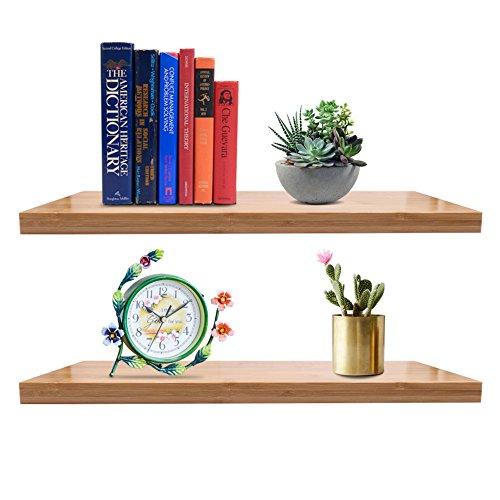 Heavy Duty Wall Shelf (Floating Wall Shelf, Heavy Duty Bamboo Wall Shelves Storage, Beautiful Modern Home Decor - Including Hardware Kit(Set of 2))