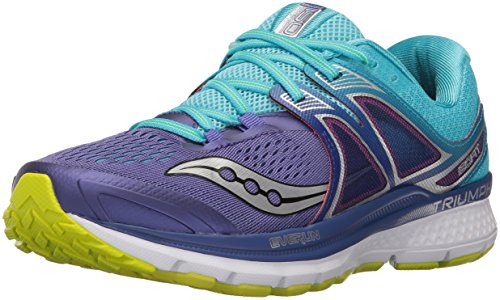 Saucony Women's Triumph iso 3 Running Shoe, Purple/Blue/Citron, 7.5 M US