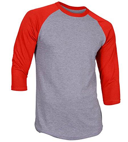 - Men's Plain Athletic 3/4 Sleeve Baseball Sports T-Shirt Raglan Shirt S-XL Team Jersey Gray Red 2XL
