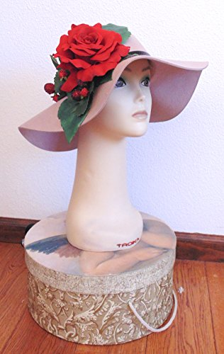 Brown Wool Felt Hat with Rose and Berries by Fru Fru and Feathers Costumes & Gifts