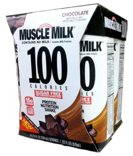 Cytosport Ready-to-Drink MUSCLE MILK 100 CALORIES Chocolate Protein Shake - 4x8.25 fl oz Containers (2 Pack)