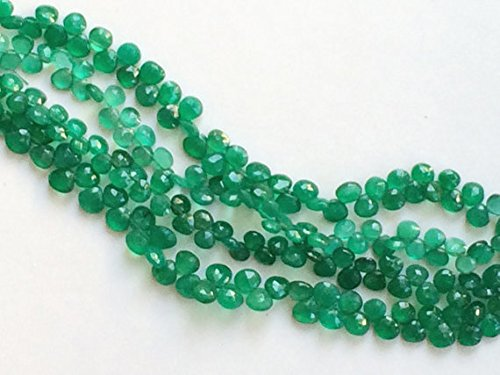 1 Strand Natural Green Onyx Heart Briolettes, Green Onyx Faceted Heart Beads, Emerald Green Onyx, Original Green Onyx Necklace 8
