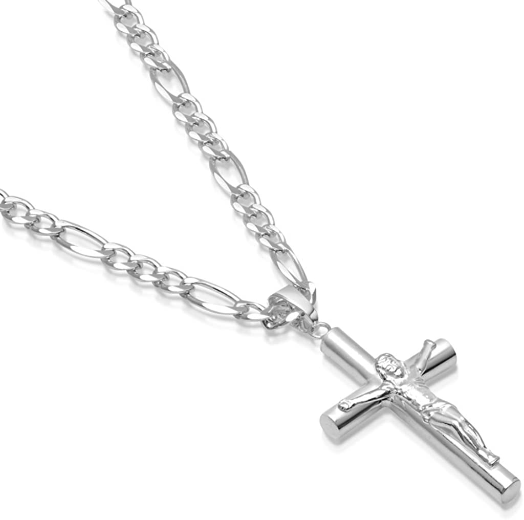 Mens Sterling Silver Crucifix Pendant Tube Cross Figaro Chain Necklace Italian Made Choose Size