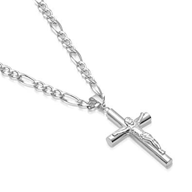Mens Sterling Silver Crucifix Pendant Tube Cross Figaro Chain Necklace  Italian Made - Choose Size