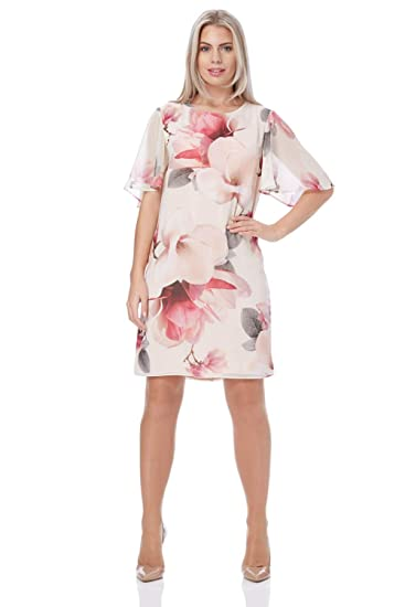 68ffbad4aca50 Roman Originals Women Floral Print Chiffon Dress - Ladies Party Mother of  The Bride Groom Wedding Guest Party Special Occasion Shift Dresses Spring  Summer ...