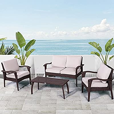 "Diensday Patio Outdoor Furniture|Sectional Chair Sofa Conversation Sets Deep Seating Cushions Bistro Set, Olefin Cushion, w/Water Resistant PE Wicker, Glass Coffee Table(4 Piece,Beige) - PREMIUM WATERPROOF FABRIC - Long lasting woven Olefin cushions for durability in beige for this outdoor sectionals conversation chair sets: fade, stain, water, and mildew resistant; ERGONOMICALLY DESIGNED FOR MORE COMFORT - All-weather resistant powder coated steel reinforced curved frame ensure this wicker chair durable, extra comfort and also rust resistant, Armchair weight capacity of 250 lbs;Loveseat weight capacity of 400 lbs;Coffee table weight capacity of 50 lbs; ALL-WEATHER SYNTHETIC WICKER - Vintage-style resin wicker for a timeless style and lasting performance for optimal indoors and outdoors,upgraded couch size offers extra comfort. Armchair: 28.35"" L x 27.36"" W x 33.07"" H; Ottoman: 28.35"" L x 22.05"" W x 20.67"" H; Side Table: 17.72"" L x 17.72"" W x 17.32"" H; - patio-furniture, patio, conversation-sets - 516dmXayWOL. SS400  -"