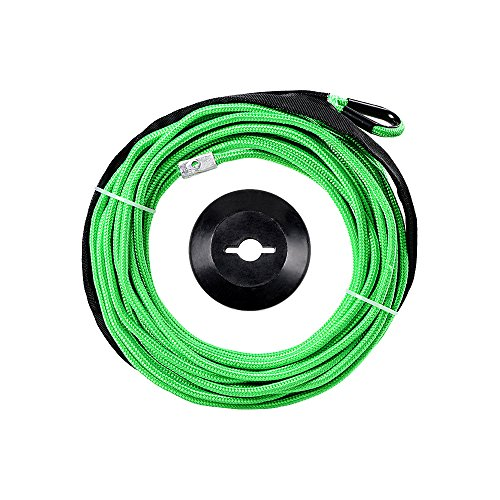 1/4 x 50' Synthetic Winch Line Cable Rope 7000+ LBs w/39' Rock Guard Sheath ATV UTV SUV Off-Road Ramsey (w/Stopper, Green)