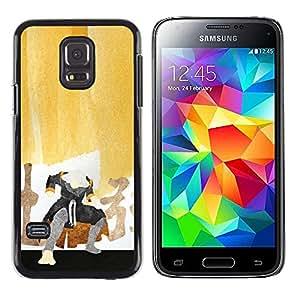 Caucho caso de Shell duro de la cubierta de accesorios de protección BY RAYDREAMMM - Samsung Galaxy S5 Mini, SM-G800 - Pintura del samurai