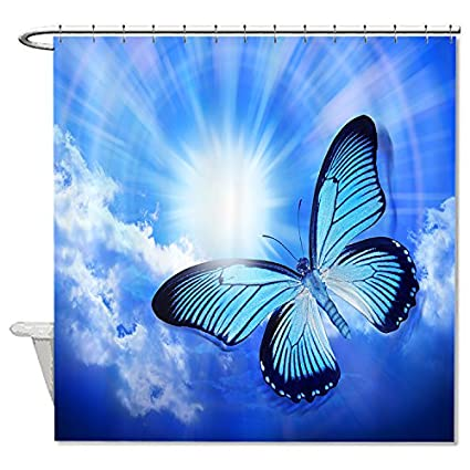 TrUiuiui Mildew Resistant Ployester Amazing Blue Butterfly Shower Curtain Polyester Waterproof 72quot