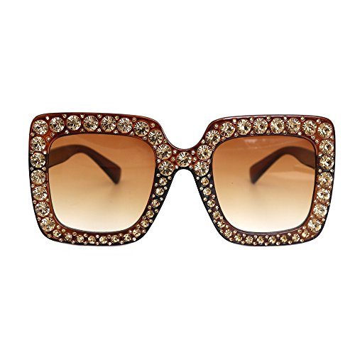 Brown Replica Sunglasses (Natwve&Co Crystal Party Sunglasses Women Oversized Square Designer Gradient Lens (Brown))