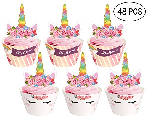 Price comparison product image 48Ct Unicorn Cupcake Toppers Wrappers - Birthday Party Cake Decorations Supplies