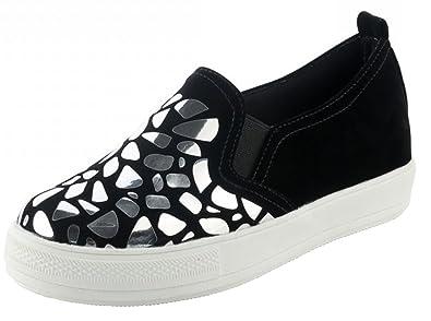SHOWHOW Damen Paillette Weich Flach Dicke Profilsohle Slipper Sneakers Schwarz 36 EU UhEQrDE53N