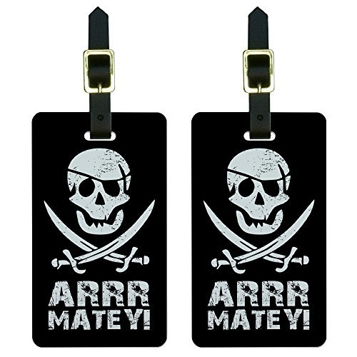 Pirate Luggage Tag (Graphics & More Pirate Arrr Matey-Skull Crossed Swords Luggage Tags Suitcase Id, White)