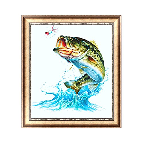 Khfun DIY 5D Diamond Embroidery Painting Fish Cross Stitch Craft Office Home Decor ( #131 )