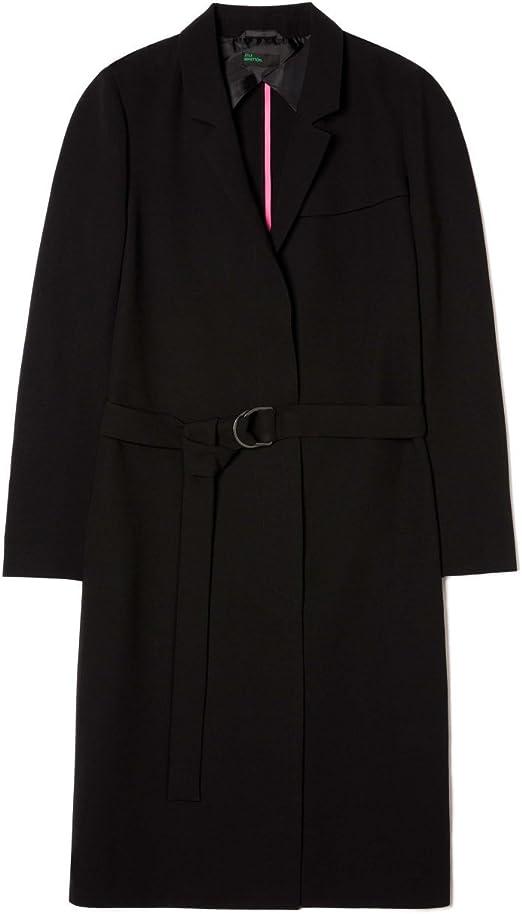 Benetton Long Fluid Trench Coat Damen Mantel Blazer Schwarz
