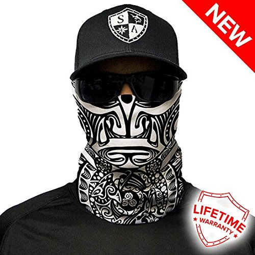SA CO Official Polynesian Tribal Black & White Face Shield, Perfect for All Outdoor Activities, Protects Face Against the Elements