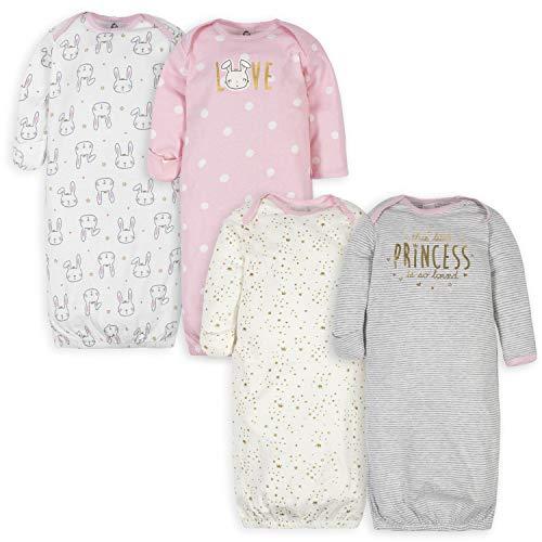 Gerber Baby Girls' 4 Pack Gowns, Princess Pink, 0-6 Months