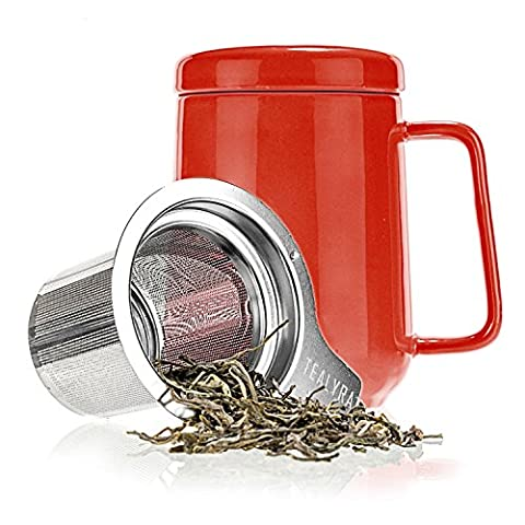 Tealyra - Peak Ceramic Red Tea Cup Infuser - 16-ounce - Large Tea High-Fired Ceramic Mug with Lid and Stainless Steel Infuser - Tea-For-One Perfect Set for Office and Home Uses - 480 milliliter