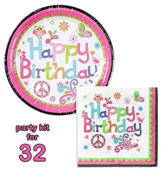 [ party kit for 32 ] Paper Plates (9 inch) u0026 Napkins (Happy  sc 1 st  Amazon.com & Amazon.com: [ party kit for 32 ] Paper Plates (9 inch) u0026 Napkins ...