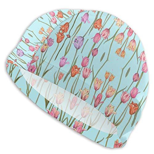 - HIAHBH Swim Cap with Holland Tulips On Tiffany Blue Wallpaper (8133) Print