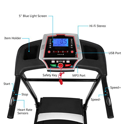 Folding Electric Treadmill Incline Motorized Running Machine Smartphone APP Control for Home Gym Exercise (2.25 HP-(APP Control)) by ncient (Image #3)