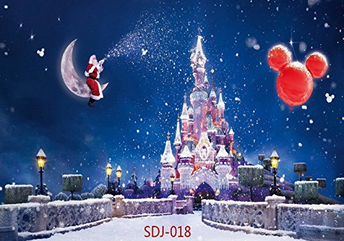 Disney Christmas Photo Cards (7x5ft Christmas Backdrops for Photography Santa Claus & Christmas Balloon & Fantasy Castle Pictorial Cloth Christmas Photography Background Christmas Photo Backdrop for Pictures Studio Prop)