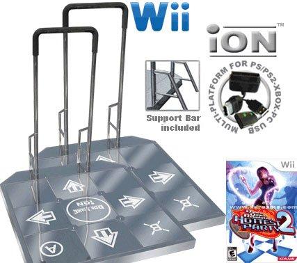 2 x Wii Dance Dance Revolution DDR iON Arcade Metal Dance Pad with Handle Bar + Dance Dance Revoluti