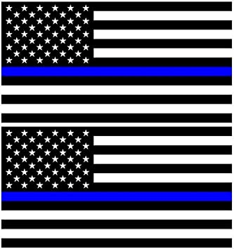 SecurePro Products Two Large 4 x 6 Thin Blue Line United States American Flag Decal Stickers; Premium Quality Heavy-Duty 3M USA Vinyl Adhesive on Back Die-Cut Screen Printed 2