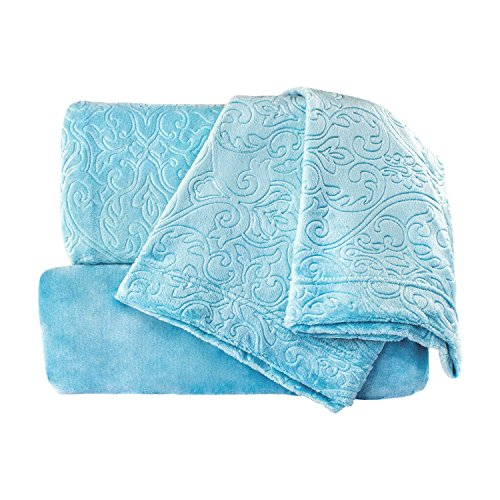 Cozy Fleece Embossed Damask Super Soft Sheet Set, Full, Aqua Mist