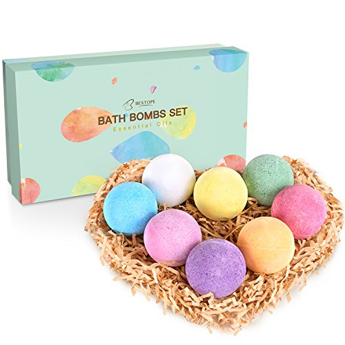 BESTOPE Bath Bombs Gift Set, 8 x 3.5 oz Vegan Natural Essential Oil & Lush Fizzy and Spa Bubble Bath Moisturizes Dry Skin, Luxury Gift for Valentine, Women, Mom, Teen Girl, Birthdays (8 colors) (Pleasures Bath Gift)