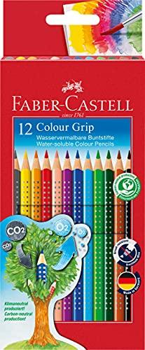 Faber Castell 112412 - Estuche de cartón con 12 Ecolápices triangulares de colores, agarre Grip, acuarelables, lápices escolares